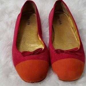 Prada size10 Pink &,Orange flats